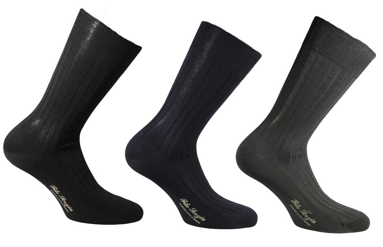 il migliore varietà larghe alta moda Calze uomo corte a coste in pregiatissimo cotone 100% filo scozia ...